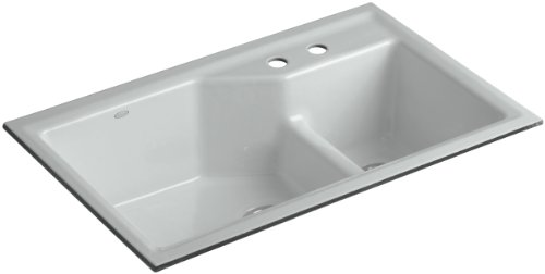 Kohler K-6411-2-95 Indio Undercounter Double Offset Basin Kitchen Sink with Two-Hole Faucet Drilling, Ice Grey - Smart Divide Undercounter Kitchen Sink