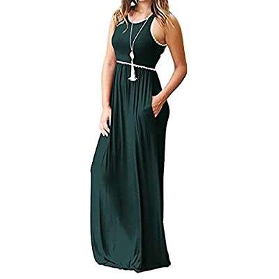 Fanyunhan Women's Lace Round Neck Long Dresse Casual Sleeveless Maxi Dresses with Pocket: Clothing