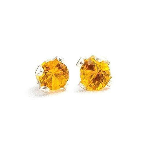 3mm Tiny Yellow Orange Topaz Gemstone Post Stud Earrings in Sterling Silver - November Birthstone