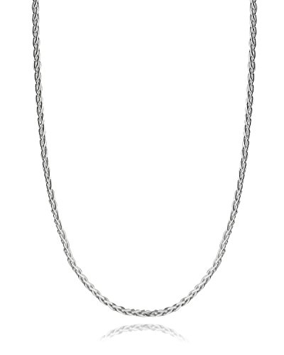 Italian 925 Sterling Silver 3mm Spiga Wheat Diamond Cut Chain Necklace - 16, 18, 24, 30 Inches (18) by FashionJunkie4Life