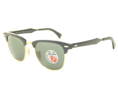 New Ray Ban Aluminum Clubmaster RB3507 136/N5 Black/Polar Green 49mm - Ban Aluminum Clubmaster Ray