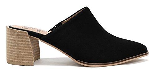 Beast Fashion Stephanie-01 Suede Slide On Chunky Mule Heel Sandal (7.5, Black)