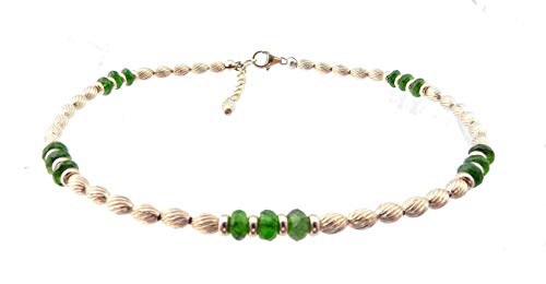 DAMALI Green Diopside Gold Filled Ankle Bracelets Beaded Anklet Jewelry