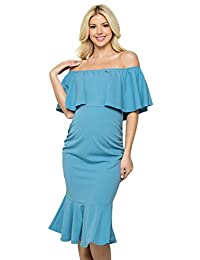 My Bump Women's Ruffle Off-Shoulder Maternity Ruched Mermaid Dress(Made in USA)