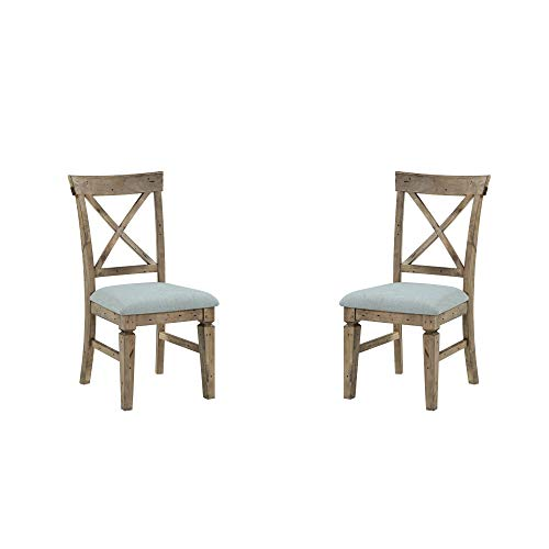 Verona Dining Chair in Natural Pine with Upholstered Seat, Cross Back, And Carved Front Legs, Set of Two, by Artum Hill