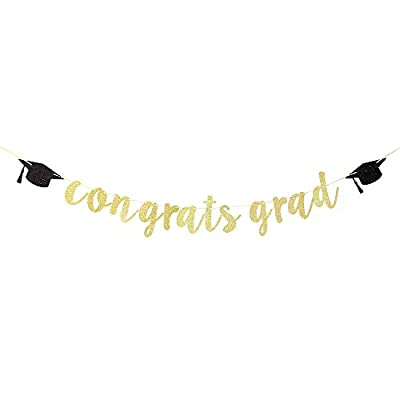 Karoo Jan Gold Glitter Congrats Grad Banner with Graduation Hats,2020 Graduation Party Decoration Supplies: Toys & Games