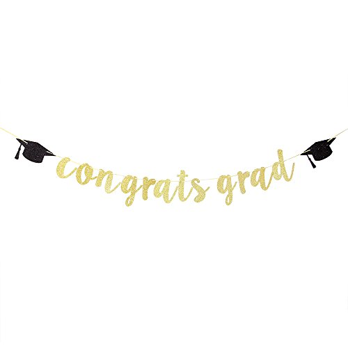Karoo Jan Congrats Grad Banner with Graduation Cap,Grad Party Decoration Supplies]()