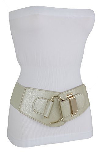 b6308faaad TFJ Women Wide Fashion Belt Hip High Waist Gold Metal Hook Buckle Size XS S  M L Xl