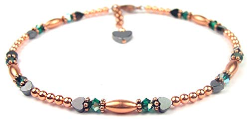 Copper Jewelry: Copper Bracelet/Copper Ankle Bracelet - Size 6.5 In. to 12.5 In. Swarovski Crystal Beaded Anklets Emerald Crystal May Birthstone Jewelry