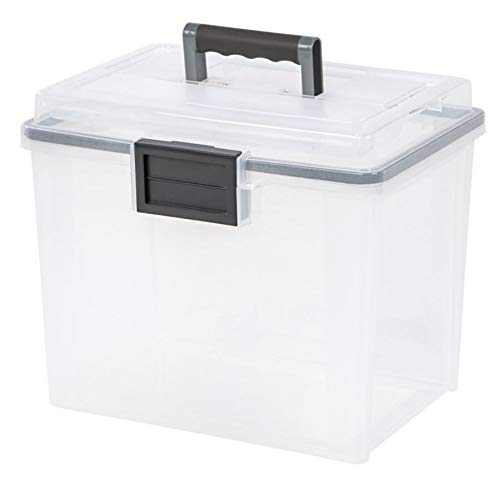 IRIS Letter Size Portable WEATHERTIGHT File Box, Clear