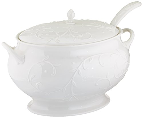 Lenox Opal Innocence Carved Covered Soup Tureen with Ladle, 10-1/4-Inch