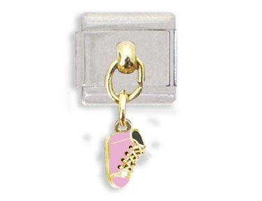 Pink Baby Shoe Dangle Italian Charm Bracelet Link