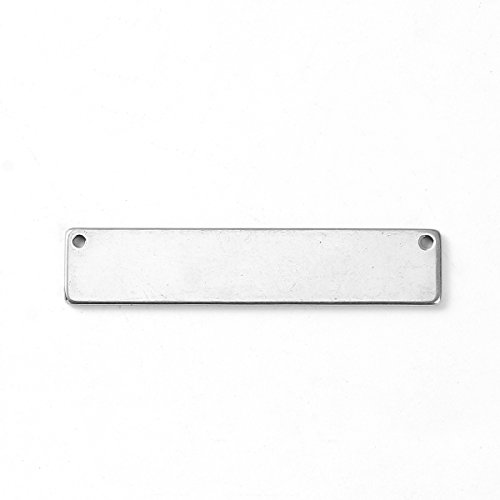 10 Count 304 Stainless Steel Rectangle Bar Metal Stamping Blank Tag with Two Holes 39mm x 8mm