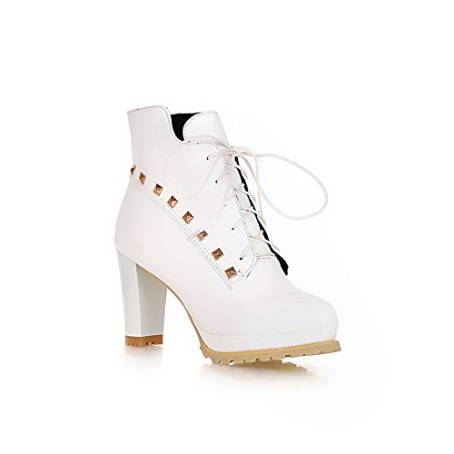 AllhqFashion Womens High-heels Round Closed toe Blend Materials Low-top Boots White YUz1Y