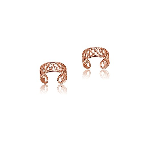 (Rose Gold Flashed Sterling Silver Polished Filigree Swirl Clip On Ear)