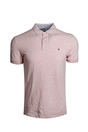 - Tommy Hilfiger Mens Custom Fit Solid Color Polo Shirt (Medium, Heather Pink)