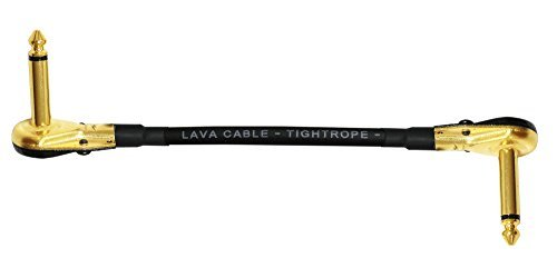 Lava Tightrope (Black) - 6 Inch - Guitar Bass Effects Instrument, S-Shaped Patch Cable with Premium Gold Plated ¼ Inch (6.35mm), Right Angle Pancake type TS Connectors by WORLDS BEST CABLES