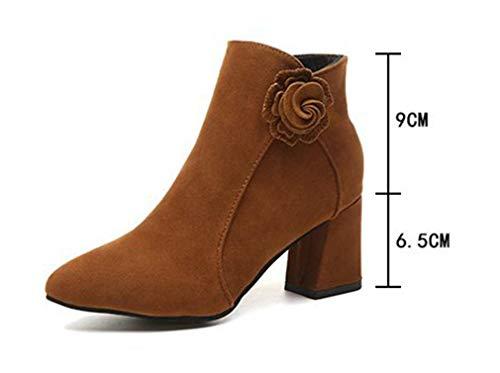 Scarpe Scarpe Scarpe Toe Short Chunky Donna da Brown YUCH Heel Casual Stivali d0Op1dwq