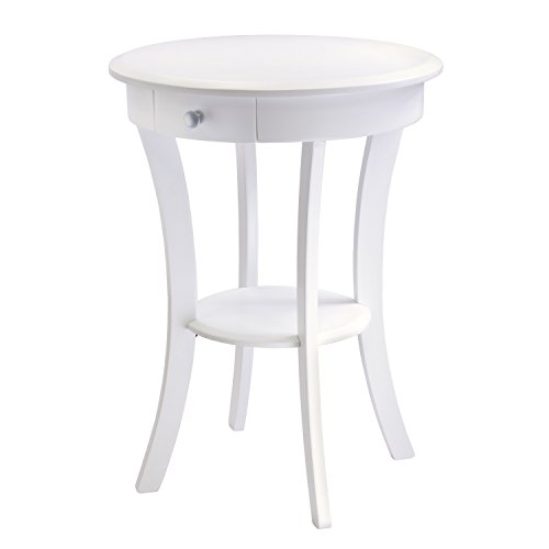 Winsome Wood Sasha Accent Table with Drawer, Curved Legs, White (Contemporary Wood Finish End Table)