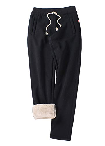 Womens Lined Pants (Gihuo Women's Winter Fleece Pants Sherpa Lined Sweatpants Active Running Jogger Pants (2# Black, Large))