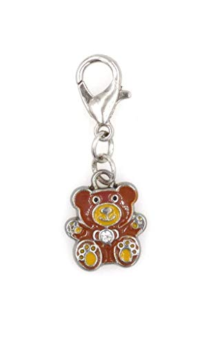 Mini Enamel Teddy Bear with Clip On Charm Perfect for Necklaces and Bracelets (ZC 98D)