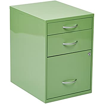 Beau OSP Designs Office Star 3 Drawer Metal File Cabinet, Green Finish