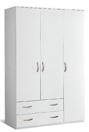 armadio in legno 3 ante 2 cassetti 121X52X175CM colore bianco ...