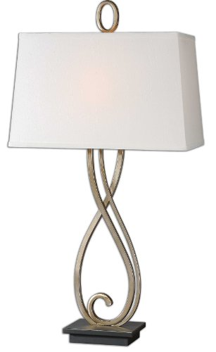 Scroll Antiqued Table Lamp - Uttermost Ferndale Scroll Metal Lamp with Scroll Metal Finished In Antiqued Silver-champagne