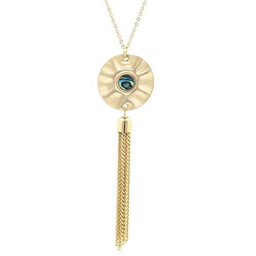 BOUTIQUELOVIN Abalone Tassel Necklace Long Women's Fashion Statement Gift Pendant ()