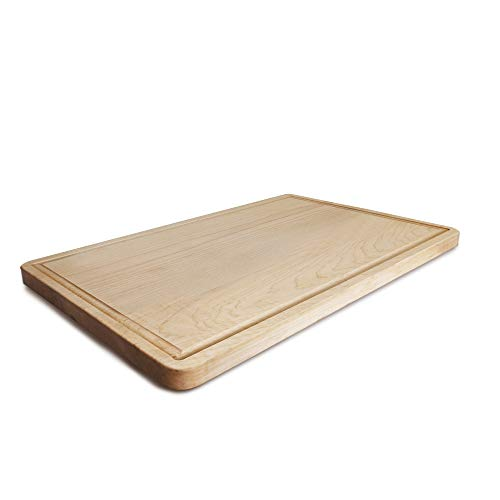 Rectangle Wood Cutting Board - Casual Home Delice Maple Rectangle Juice Drip Groove Cutting Board, 17
