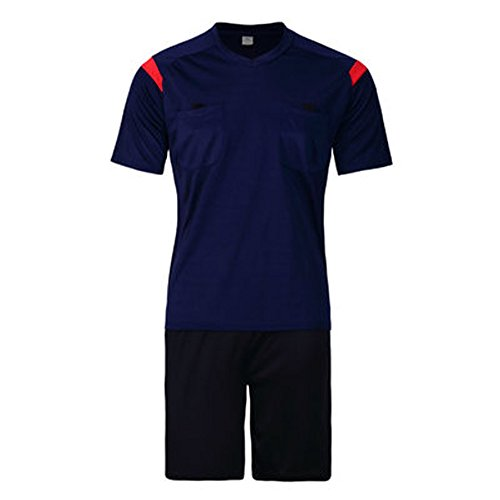 Firelong Sports Referee Jersey Suit Uniform Kit - Shirt + Shorts for Football Soccer Rugby (Royal Blue, (Referee Shorts Costume)