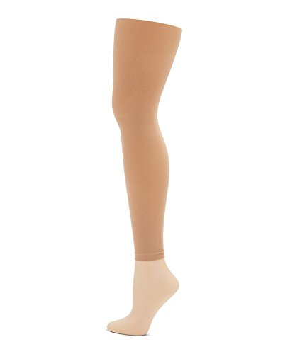 Capezio Footless Tights (Capezio Girl's Child Self Knit Waistband Footless Dance Tights, Caramel, OS)