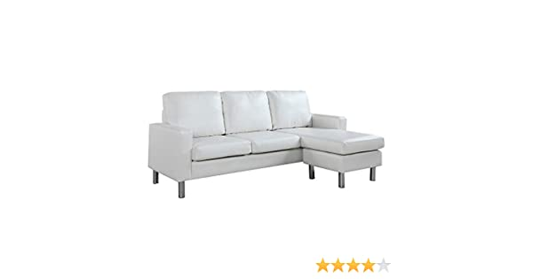 Terrific Configurable Sectional Sofa Convertible L Shape Couch In Bonded Leather Upholstery For Small Space White Cjindustries Chair Design For Home Cjindustriesco