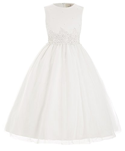Flower Girls Dresses White Tea Length 2-3 Years