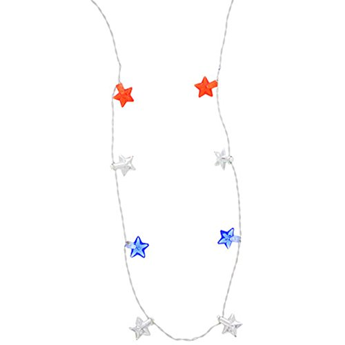 Patriotic Light-Up LED Red, White & Blue Star Necklace - With 4 Flashing LED Lights - 33 Inches Long