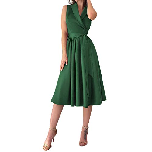 (Willow S Womens Holiday Sexy Sleeveless Bowknot Ladies Summer Beach Buttons Party Dress Prom Dress Beach Skirt)