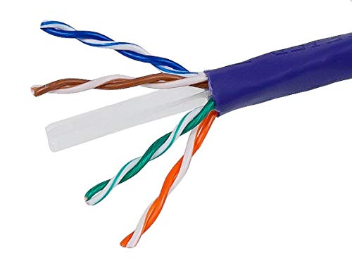 Monoprice Cat6 Ethernet Bulk Cable - Network Internet Cord - Solid, 500Mhz, UTP, CMR, Riser Rated,  Pure Bare Copper Wire, 23AWG, 1000ft, Purple