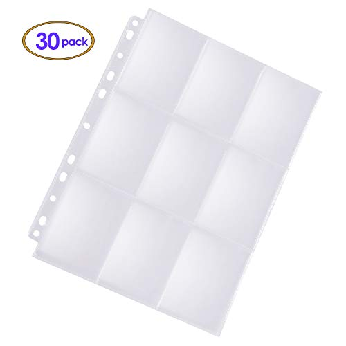 ABLY 540 Pockets Trading Card Sleeves for 3 Ring Binder, 9-Pocket Double Sided Clear Plastic Game Card Page Protectors Sheet (30 Pages)