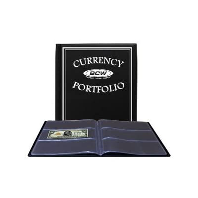 BCW - Currency Portfolio - (Dollar Bill Combo Storage Album) - Currency and Coin Collecting Supplies, Black, Pocket Size 3 7/8 x 8 1/4: Clothing