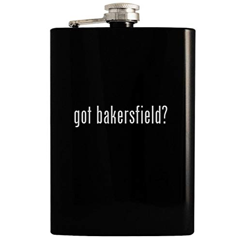 (got bakersfield? - Black 8oz Hip Drinking Alcohol Flask)