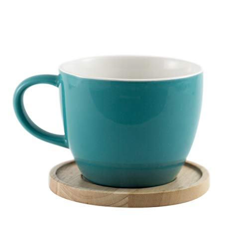 Amuse- Aquarelle Collection- Grande Porcelain Mug with Bamboo Lid (17 oz.)- Gift Box (Turquoise) ()