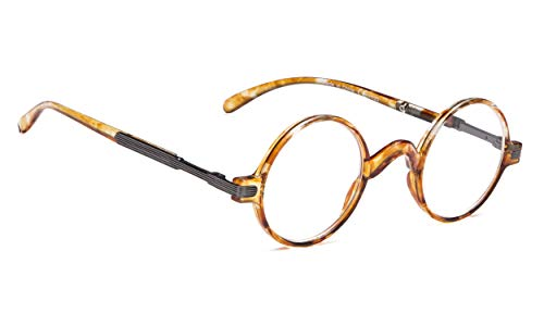 Vintage Round Reading Glasses Professor Readers (Transparent Tortoise, 1.00)