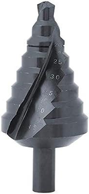 SALAKA 1pc 10-45MM Broca de 8 Pasos escalonada con Recubrimiento de nitr/ógeno HSS Ranura en Espiral Paso Cono Broca de Taladro Negro