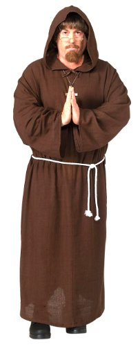 Brown Monk Robe - Adult Friar Tuck Deluxe Hooded Monk Robe Costume,Mens X-Large