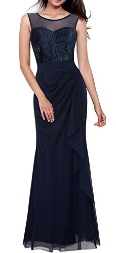 HOMEYEE Women's Elegant Lace Sleeveless Formal Maxi Dress A028