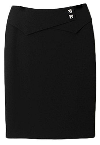 Donne Soojun Pianura Nera Mini Workwear Breve Ufficio Delle Gonna Bodycon 8Af6P8q
