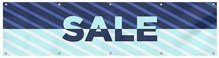 CGSignLab Sale Stripes Blue Heavy-Duty Outdoor Vinyl Banner 12x3