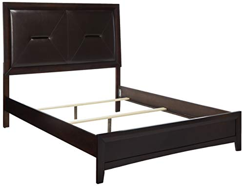 Cappuccino Finish Queen Bed - Roundhill Furniture Mateo 077 Cappuccino Finish Wood Queen Size Bed, Queen