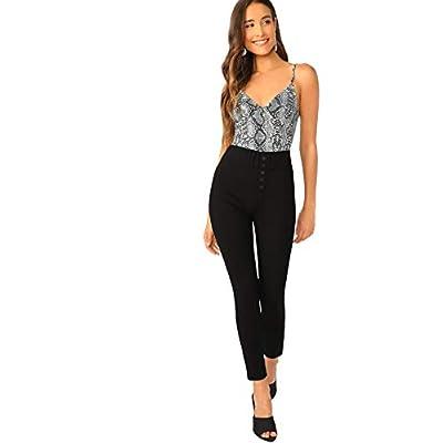 WDIRARA Women's Leopard Print Spaghetti Strap Skinny Stretch Cami Bodysuit: Clothing