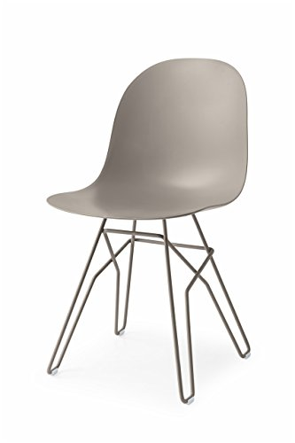 Connubia Academy Chair with Metal Rod Base, Metal Stained Matt Taupe Frame & Polypropylene Matt Taupe - Chair Calligaris Metal